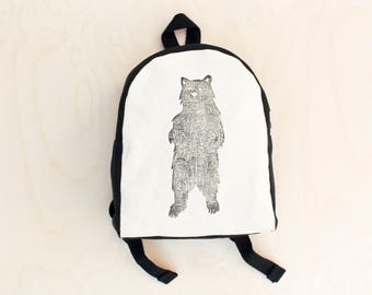 Toddler Backpack, Hand Stamped, bear print, Woodland Creatures, Monochrome, Kids Backpack