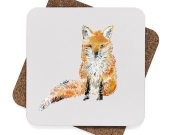 Fox Coasters, set of 4 coasters, grey coasters, grey coaster, gray coasters, gray coaster, set of coasters, fox coaster