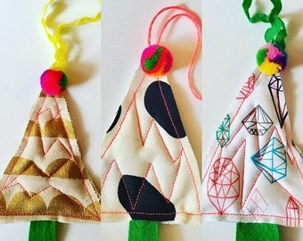Christmas tree decorations Scandi style pom pom quilted