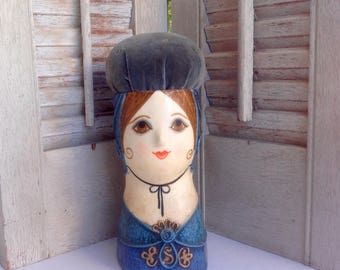 Gemma Taccogna paper Mache Pin cushion doll / signed Mexican Folk Art 1960's / collectible Mid Century Doll