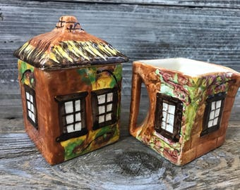 Vintage Cottage Ware Creamer Sugar Price Bros Ye Olde Cottage Set made in England Country Tea Party Decor