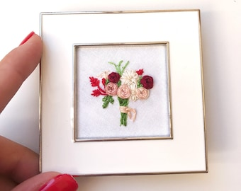 Framed Art Embroidered Art Embroidered Flowers Floral Art Embroidered Flowers Framed Flowers Gifts For Her Gifts Under 50 Wedding Gift