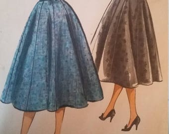 UNCUT and FF Pattern Pieces Vintage McCalls 4197 Sewing Pattern Waist 26 Eight Gore Skirt