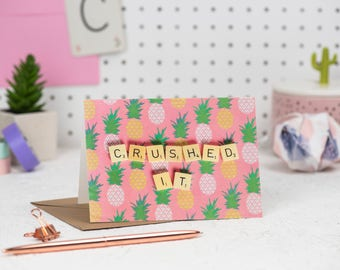 Crushed It Card, Scrabble Inspired Greetings Card, Congratulations Card, Graduation card, Positive Greetings Card | Claireabellemakes