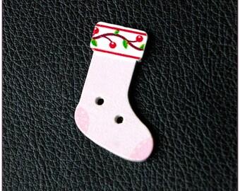"Wooden Christmas socks buttons ""model 06"" x 1"