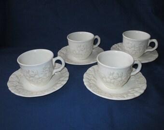 4 Metlox Poppytrail ANTIQUE GRAPE Cups & Saucers, Sculptured Traditional Shape (c. 1960s)