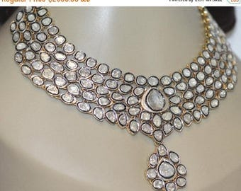 ON SALE 10% OFF Polki Wedding Necklace Victorian Inspired-Antique Cut Diamond, Silver