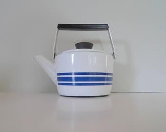 Vintage White and blue Brown Cathrineholm Teapot - Enamel Design Norway 1960s