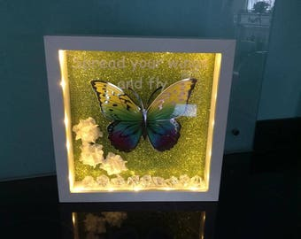 Butterfly Frame Green Spread Your Wings and Fly with Lights