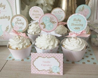 "Tea Party Baby Shower Cupcake Toppers Printable: 2"" Party Circles Decoration - Shabby Chic Floral Pink Gold- Baby is Brewing & Mom-to-Be"