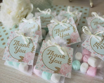 Floral Thank You Tags Printable: Favor Tags for Goodie Bags or Gift Tag - Tea Party, Birthday Party, Baby Bridal Shower - Mint, Pink, Gold
