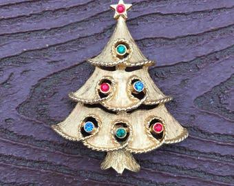 Vintage Signed JJ Jonette Jewelry Christmas Tree Pin Brooch