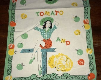 ON SALE Vintage Retro 1940s 1950s Country Pinup Girl with Tomatoes & Cabbage Kitchen Towel Tea Towel Cotton Print 22631E