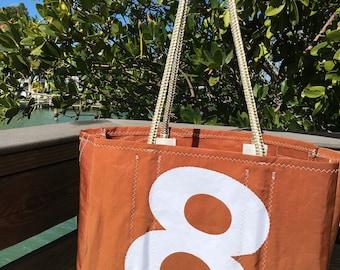 Sail Number 8 TANBARK Sail Cloth Bag, XLG handmade bySailAgainBags