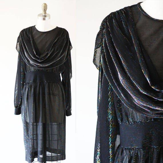 1980s black sheer sparkle dress // rainbow shawl dress // vintage disco dress