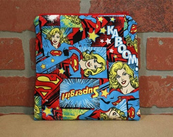 One Sandwich Bag, Reusable Lunch Bags, Waste-Free Lunch, Machine Washable, Supergirl, Sandwich Sacks, item #SS89