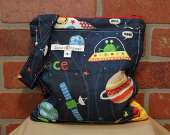 Small Wetbag, Space Ships, HANDLE, Cloth Diaper Wetbag, Cosmetic Bag, Diaper Bag, Holds One Diaper, Size Small with Pocket, S35