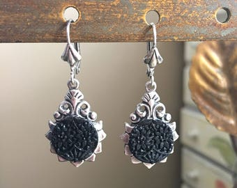 Victorian Antique Button Earrings Jet Glass Dangle lever back Antique Silver plated