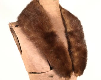 Vintage Mink Collar Chestnut Brown Mink Collar Vintage 1950s Satin Lined Coat Jacket Vest Sweater Mink Collar Women Men Vintage Accessories