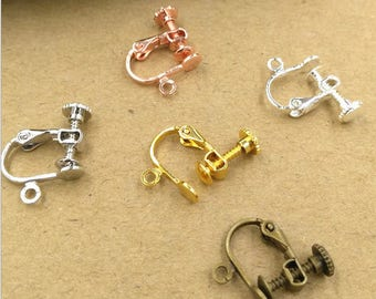 Bulk 50 pcs  Lever Back Earring clip Screw Backs non pierced earrings- Settings Brass base