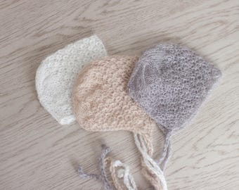 0-3M Hat, Beige Mohair Bonnet, Mohair Baby Hat, Neutral Baby Hat, Beige Newborn Hat, Beige Baby Hat, Baby Photo Prop Hat
