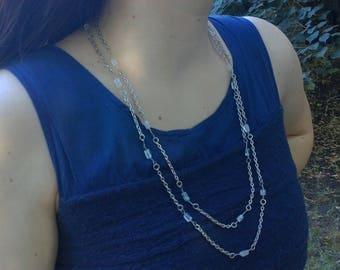 Aquamarine Necklace - Multi-strand Necklace - Aquamarine - Birthstone Necklace