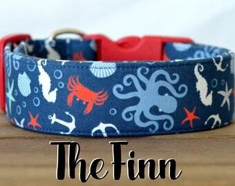 "Navy, Red, White & Blue Nautical Inspired Dog Collar ""The Finn"""