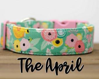 """Modern Mint Vintage Floral Inspired Dog Collar """"The April"""""""