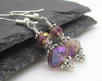 Purple Bridesmaid Earrings, Plum Crystal Jewellery, Sangria Wedding, Crystal Drop Earrings, Plum Bridal Sets, Bridal Party Gifts,