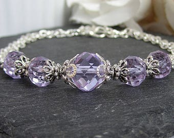 Lilac Crystal Bridesmaid Bracelet Lapis Bridesmaid Jewellery Lilac Wedding Bracelet Crystal Bridal Sets Bridesmaid Gift Matching Bridal Set