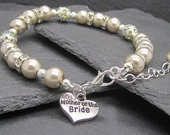 Mother of the Bride Gift, Mocha Pearl Bracelet, Mother Of The Groom, Champagne Wedding, Rhinestone Jewellery, Mother Charm