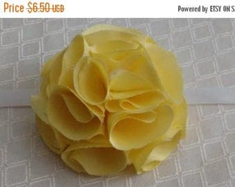 """2-3"""" Handmade Fabric Flower Romantic Shabby Chic Curtain Tie Back Ornament Hair Bow Embellishment Cottage Chic French Chic Rosette Yellow"""