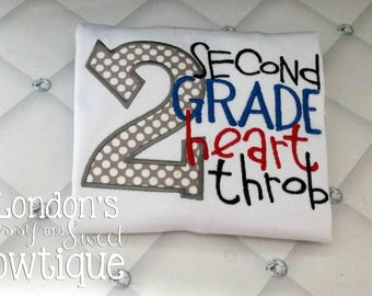 Pre-K~ 6th Grade Heart Throb T-shirts/ Back to School Shirts/ Embroidered T-shirt/ Toddler T-shirt
