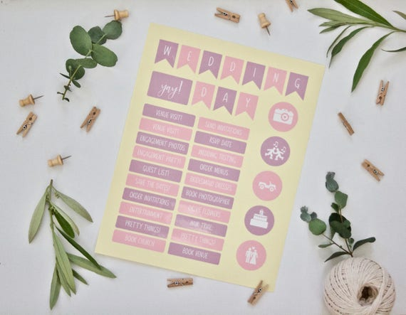 Wedding Planner Stickers - One Sheet of Wedding Planning 'To Do' Stickers - Gloss Finish - Pink and Lavender - Wedding Organisation
