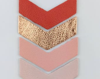 4 Chevron leather soft 35x10mm 4 colors