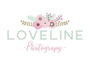 Premade Logo Design  |  Floral logo  |  Shabby Chic Logo  | Watermark | Etsy Branding | Branding Package
