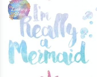 Set of 2 printable Mermaid prints watercolour sea turtle shells All I need is Vitamin Sea I'm really a mermaid pink foil