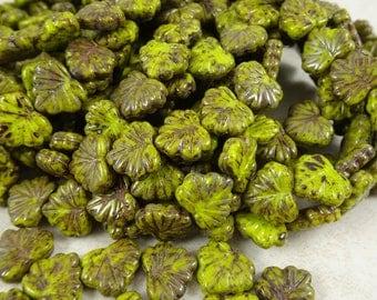 Maple Leaf Beads - Czech Glass Beads - Kiwi Green Glass Maple Leaf - Rustic Chartreuse Green Maple Leaf (L/RJ-2375) -10x13mm - Qty. 8