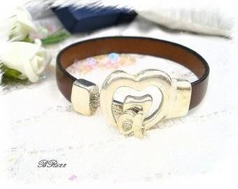 BR622 Brown real leather bracelet