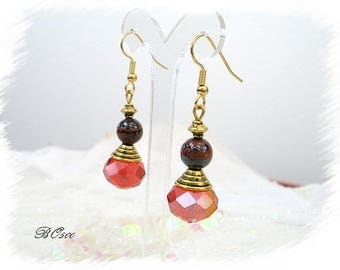 Earrings red and gold glass BO500 Tiger eye beads