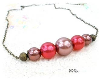 Red and coffee necklace adjustable pearls * wedding * CO635