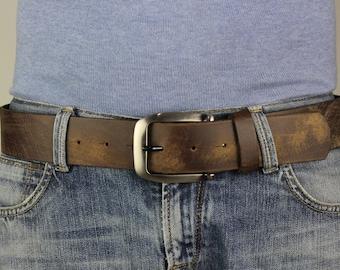 Men's Brown Genuine Leather Belt Extra Wide Distorted 4.5cm XL XXL One piece Leather 5102
