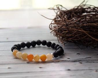 Children's Handmade Natural Amber Gemstone Beaded Bracelet | Black Lava Rock Bracelet | Essential Oil Jewelry | Diffuser Bracelet Lava Rock
