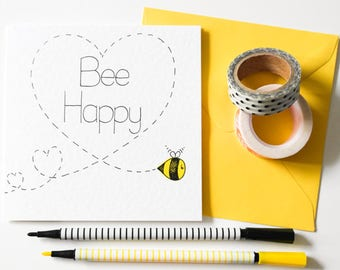 Bee Happy greeting card, Friendship bee card, Kawaii Wedding card, Just because card, New home card, Thinking of you, Card for friends