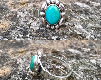 vintage NOS Native American Bell Trading Post sterling silver turquoise southwestern ring size 4.5