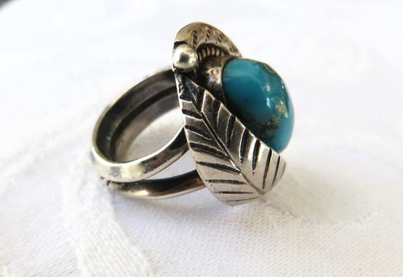 Navajo Turquoise Ring, Sterling Silver, Kingman Turquoise, Old Pawn, Native American Jewelry, Size 3.5 Pinky Ring