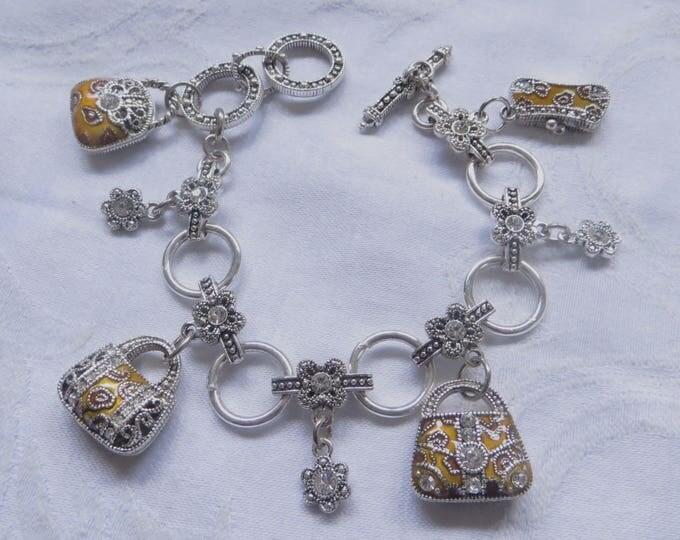 Vintage Charm Toggle Bracelet, Enamel Purses, Rhinestone Daisies, Designer Style