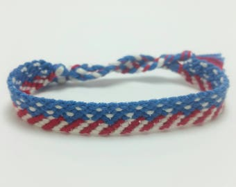 Stars and Stripes flag friendship bracelet, string friendship, American jewelry, independence day, bracelets under 20