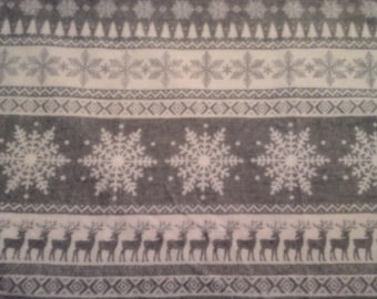 Double kitchen towel, extra wide rows gray white snowflkes deer.  Crocheted gray top. Pattern one way