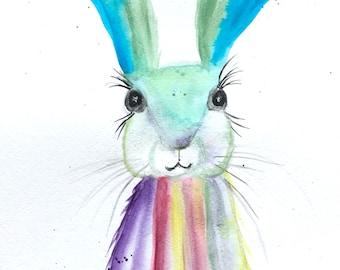 Original watercolour painting, rainbow hare, not a print, hare painting, hare illustration, hare artwork, nursery art, nursery decor, 9 x 12